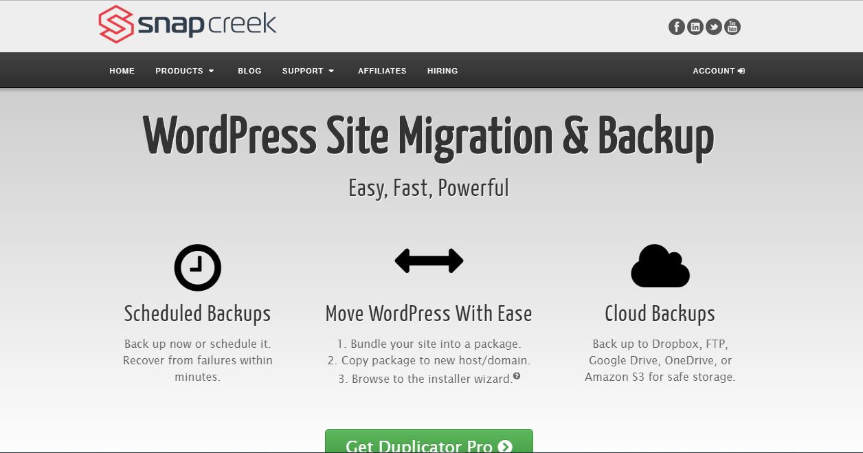 Duplicator WordPress back up tool