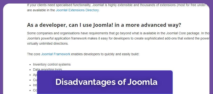Disadvantages of Joomla