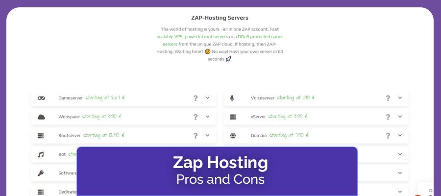 Zap Hosting Pros & Cons